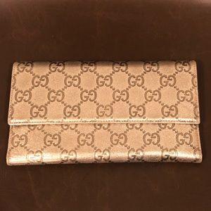 Gucci Guccissima Wallet in Metallic Silver